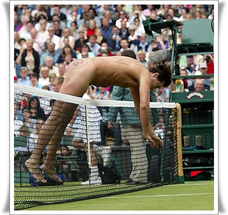 Nackter bei Spielunterbrechung in Wimbledon