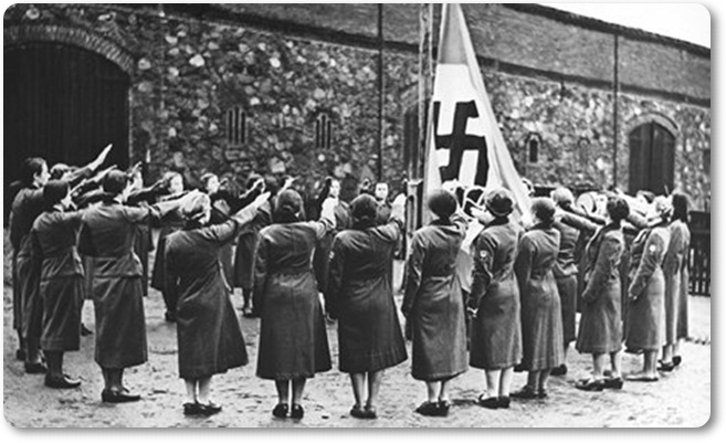 women salute the nazi flag